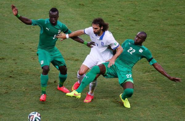 Samaras in una azione di gioco contro la Costa D