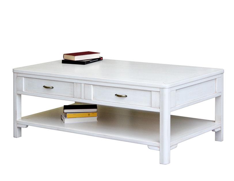 Tavolino da salotto legno laccato, tavolino basso bianco 2 cassetti ...