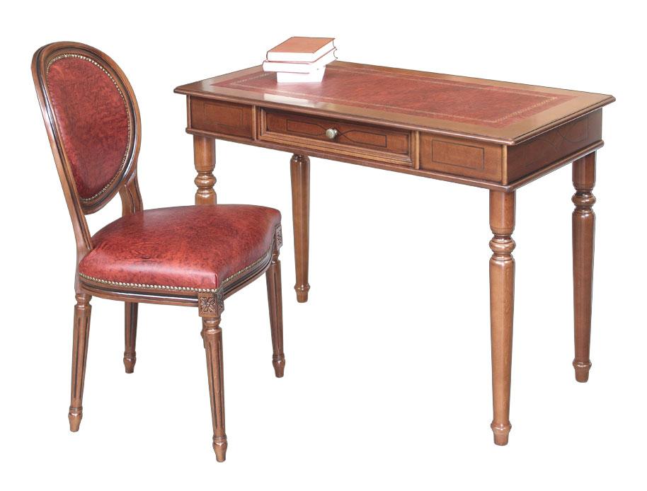 Scrittoio piano in pelle, sedia legno di faggio e vera pelle, mobili per uffi...