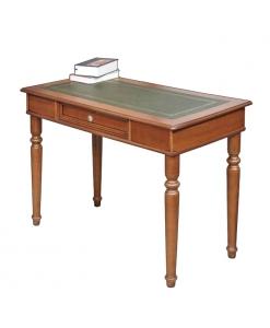 Scrittoio in legno con piano in pelle, per lo studio e l'ufficio