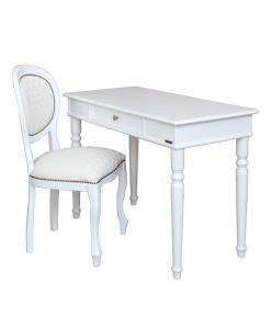 Composizione scrittoio sedia laccati bianco in legno e stile classico