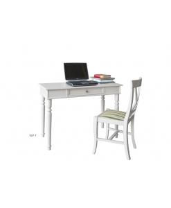 Scrittoio bianco in legno con sedia abbinata
