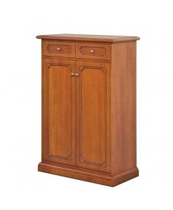 Scarpiera in legno 5 ripiani regolabili, 2 ante 1 cassetto coll.Tilly