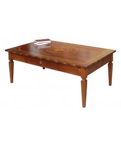 Tavolino intarsiato rettangolare da salotto