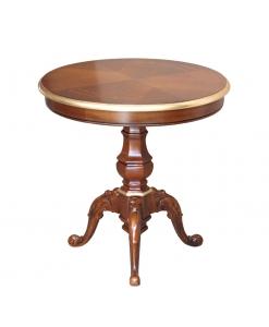 Tavolino rotondo in legno intagliato e piano intarsiato con profili dorati, Art. 13064