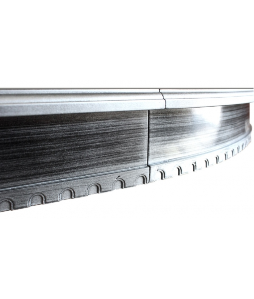 Tavolo da pranzo rotondo con allunga, dettaglio cornice nera argentata