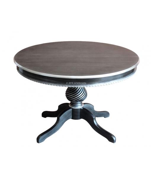 Tavolo nero in legno laccato nero e striature argento, elegante per la sala da pranzo, Art. 1312_black-s