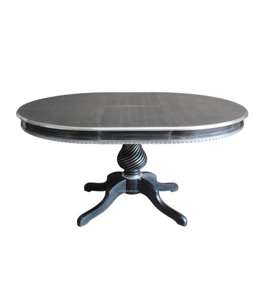 Tavolo da salotto nero e argento, vista con allunga 120 x 160 cm