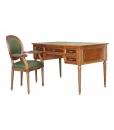 scrivania e sedia abbinate, con pelle verde