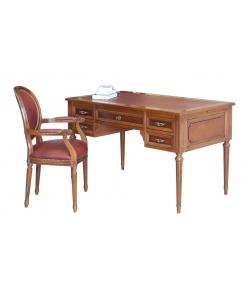 scrivania e sedia abbinate, con pelle rossa