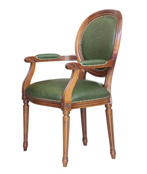 Sedia con braccioli per sala da pranzo o scrivania, vera pelle verde