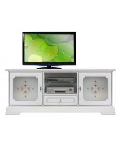 mobile tv, porta tv, mobile laccato mobile per soggiorno, mobile bianco, mobile con ante in vetro