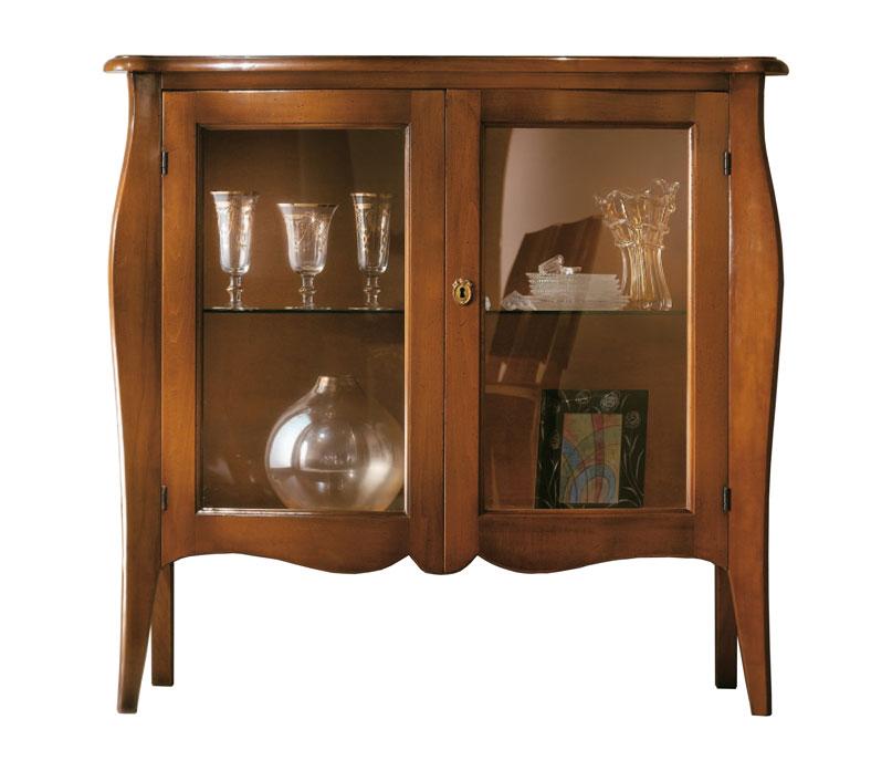 Credenzina, mobile credenza legno massello con vetrine, vetrina ...