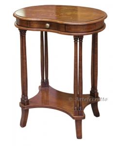 Tavolino con cassetto e ripiano inferiore in legno