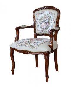 Poltoncina classica con braccioli, in legno e tappezzata, da salotto