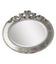Specchiera ovale foglia argento