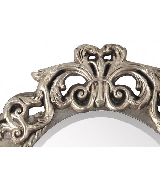 Dettaglio specchiera foglia argento