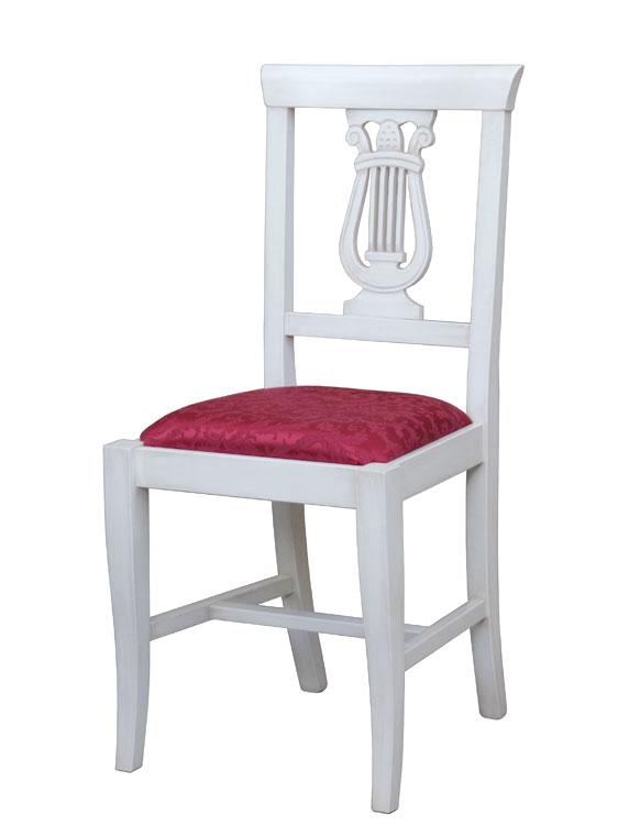 Sedia da sala da pranzo in legno, laccata bianco imbottita