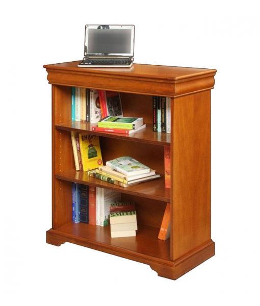 Libreria bassa stile Luigi Filippo in legno con ripiani regolabili, Art. 195