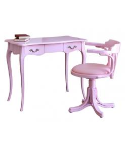 scrittoio con sedia girevole, scrittoio con sedia, mondo pink, rosa, scrittoio in legno, sedia rosa, arredo studio