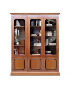 Libreria vetrina da parete con 6 ante, ripiani regolabili, per il salotto, Arteferretto