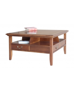 Tavolino quadrato in legno da salotto con 4 cassetti e ampi vani