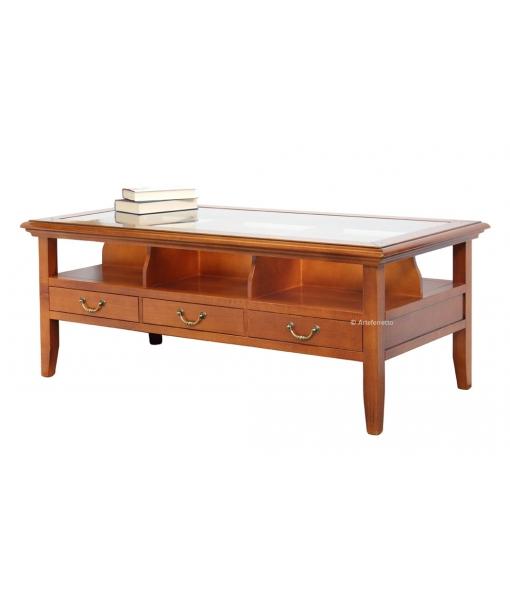 Tavolino in legno stile classico con piano in vetro per soggiorno salotto, Art. 216-E
