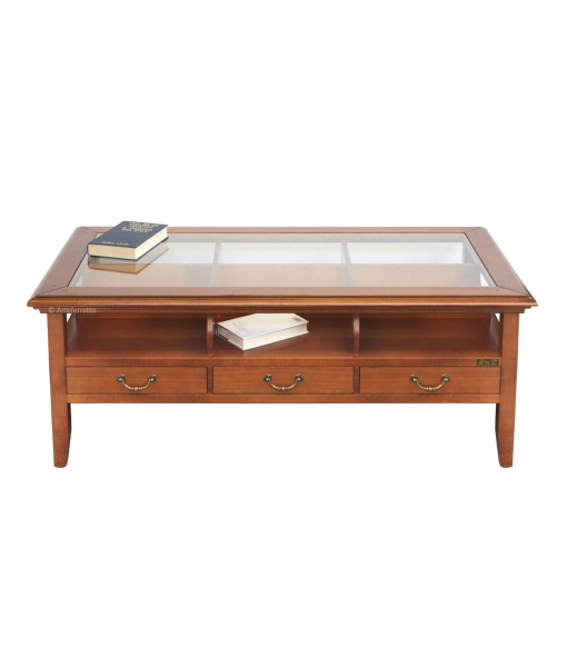 Tavolino con 3 cassetti bifacciali e piano in vetro