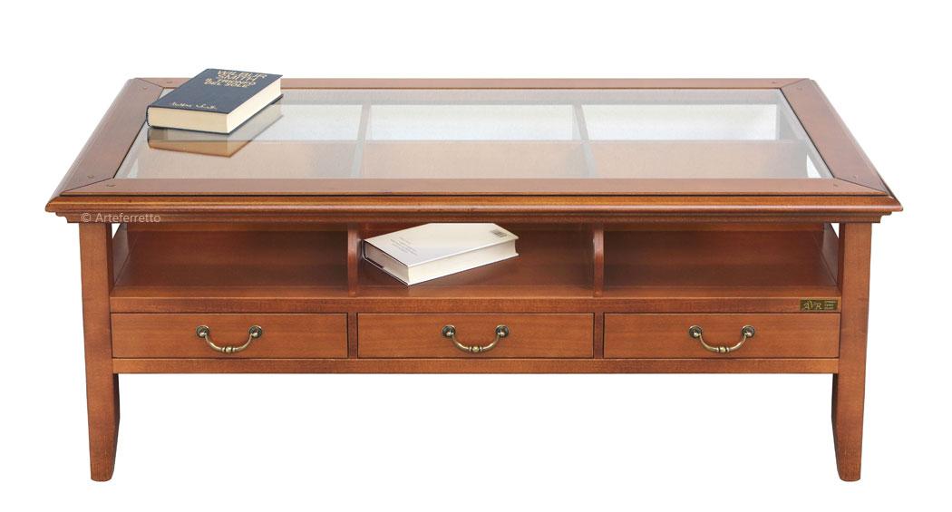 Tavolo Con Piano In Vetro.Tavolino Piano In Vetro E 3 Cassetti Arteferretto