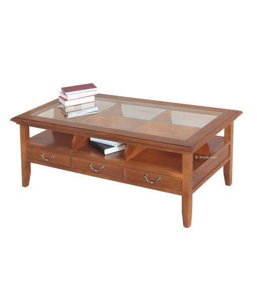 Tavolino da salotto con piano in vetro e 3 cassetti