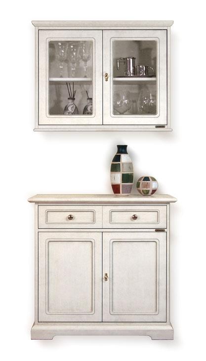Credenzina con vetrina pensile mobili per cucina mobili classici per salotto ebay - Vetrina per cucina ...