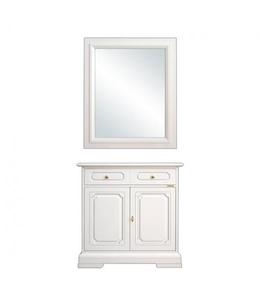 Credenza con specchio composizione in legno massello arteferretto - Specchio antichizzato ...