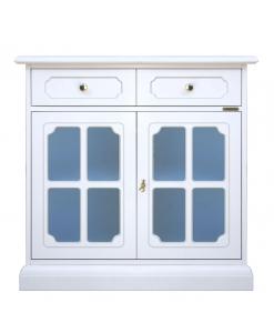 Credenzina laccata con ante a vetrina e vetrina azzurri