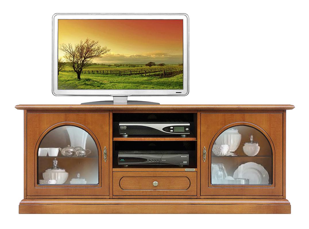Mobile tv in legno, mobile porta tv classico cassetto e vetrine ...