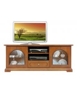 Mobile porta tv in legno con cassetto e ante a vetrina