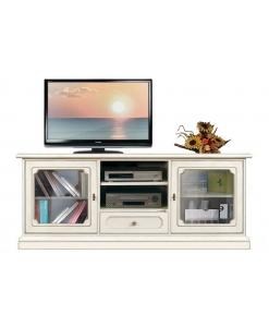 Mobile porta TV da salotto 150 cm, laccato con vetrine