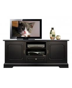 mobile porta tv basso nero, mobile tv, arredo soggiorno, arredo salotto, mobile tv in legno, legno massello