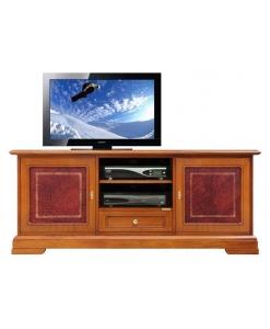 mobile port atv con pelle, mobile tv, arredo salotto, arredo soggiorno, mobile tv in legno, porta tv, stile classico