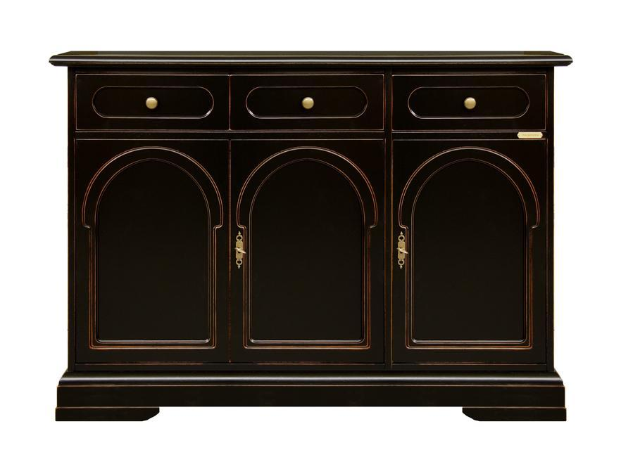 Credenza elegante per soggiorno, mobile legno ciliegio laccato nero ...