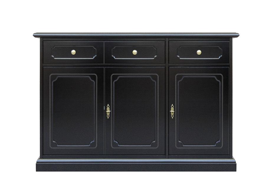 Credenza 3 porte credenza laccata nera con maniglieria for Consolle nera laccata