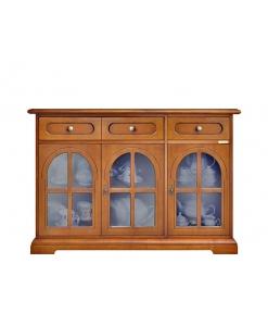 Credenza stile classico con ante in vetro