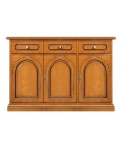 Credenza 3 ante in legno da salotto, sala da pranzo, cucina, Arteferretto