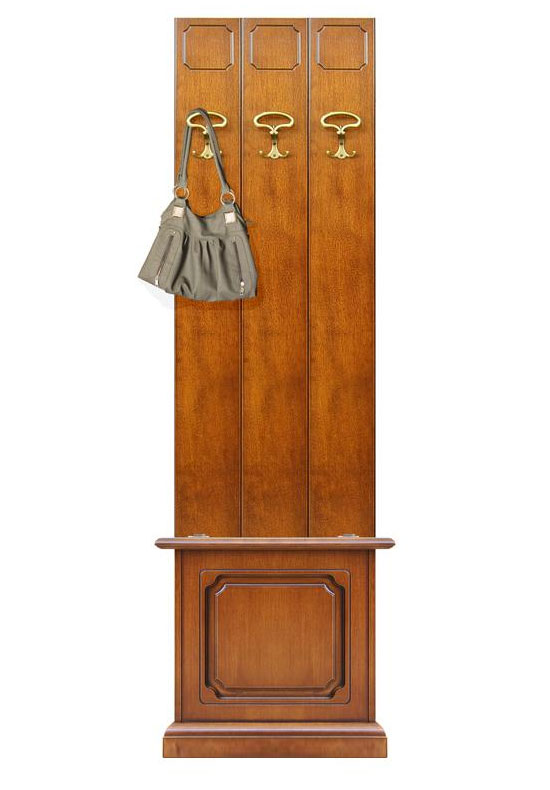 Composizione ingresso mobile per ingresso in legno appendiabiti e cassapanca - Mobili ingresso legno ...