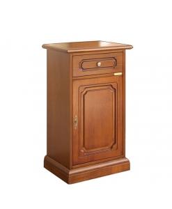 Porta telefono in legno con cassetto e anta
