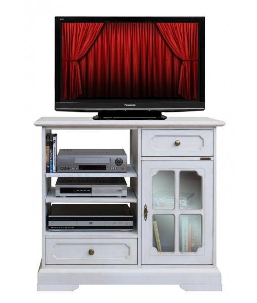 Porta tv laccato classico con anta a vetrina, Art. 3153-BIZ