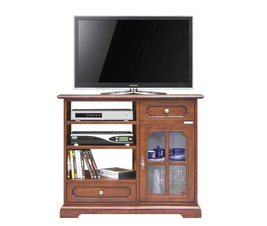 Mobile tv in legno con vetrina 2 cassetti e ripiani - Mobile porta tv classico legno ...