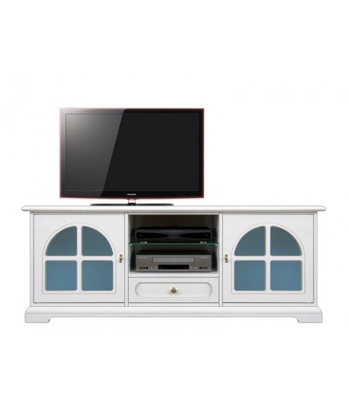 Porta tv laccato con vetri  blu. Codice Prodotto: 3159-BC