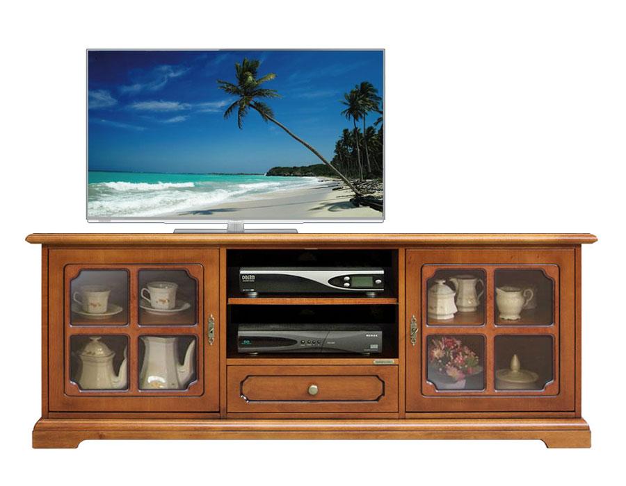 Mobile porta tv classico in legno con vetrinette, mobile tv, salotto, cucina  eBay