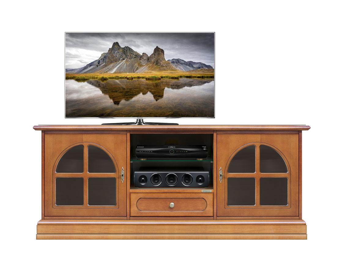 Mobile tv classico, mobile porta tv in legno ciliegio con vetrinette ...