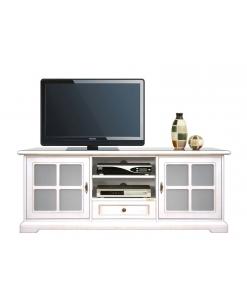 porta tv basso, porta tv, mobile tv, mobile tv laccato bianco, mobile tv con vetrinette